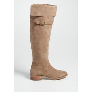 Taupe Faux Suede Over the Knee Riding Boots
